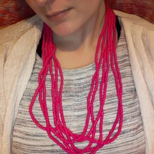 Hot Pink 6-Cord Necklace